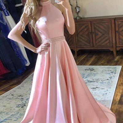 78a8afb4ba9 Pink satin prom party dresses with beaded halter neckline - Thumbnail 1