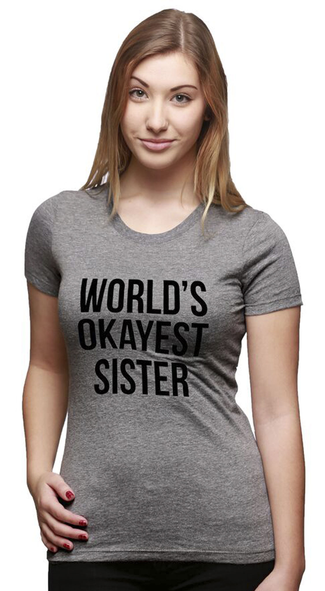 f91d1d92d3 Womens world's okayest sister t shirt funny sarcastic siblings tee for  ladies