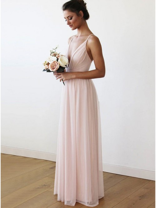 8296aa8f03 Simple A-Line V-Neck Floor-Length Pink Chiffon Bridesmaid Dress ...