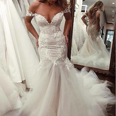 097f60c0c9f Fit flare tulle wedding gown with lace off-the-shoudler bodice