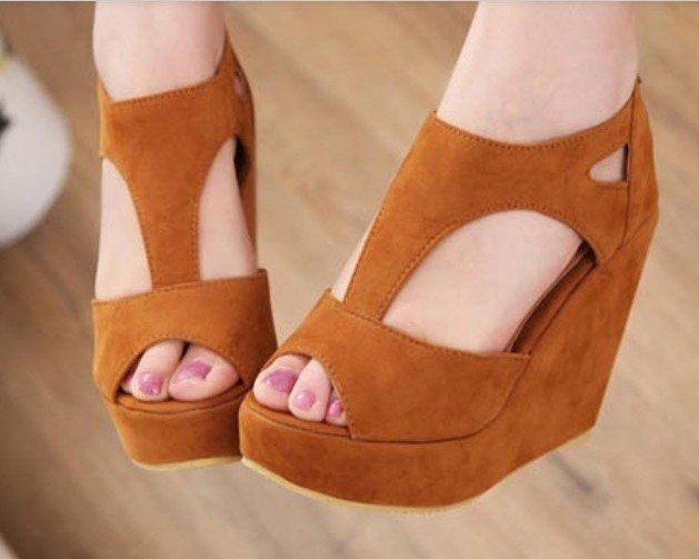 5c332e85dd5d new fashion sexy dress brown wedge shoes women s high heels sandal ...