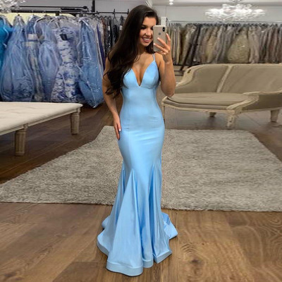 28848c0f182 Sexy fitted v neck prom dress light blue formal evening gown with spaghetti  straps