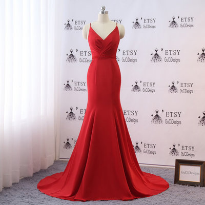 87e29980e86 Elegant v neck prom dress red mermaid evening dress for women formal sweep  train spaghetti straps
