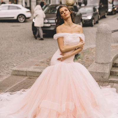 cf00539ab Blush pink tulle wedding gown fit&flare horsehair skirt - Thumbnail 2