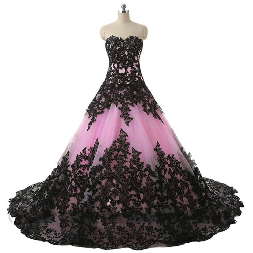 Pink and Black Wedding Dresses