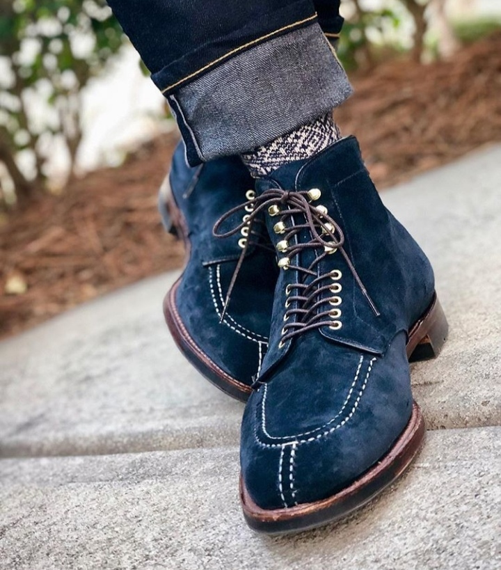 11216c0f8 Handmade Men Navy Blue Suede Lace Up Ankle High Boots, Men Blue Suede Boots  ...