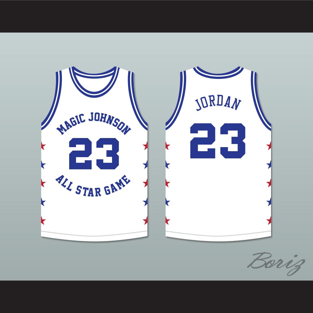 47d3f60cde4 ... Michael Jordan 23 Magic Johnson All Star Game White Basketball Jersey  1989 Midsummer Night's Magic Charity ...