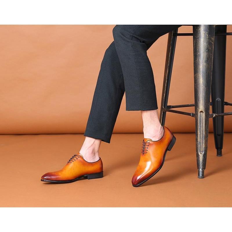 Handmade Men Tan Color brogue Shoes Men
