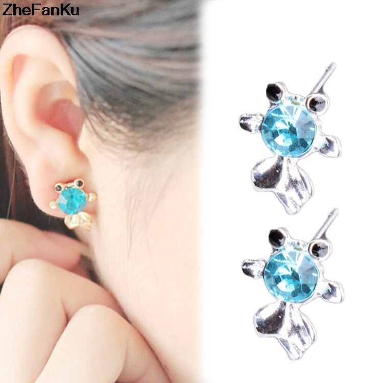 Shaped Crystal Inlaid Fish Gold Jewelry Woman Color Silver S Earrings  Dropshipping sold by cendraa216