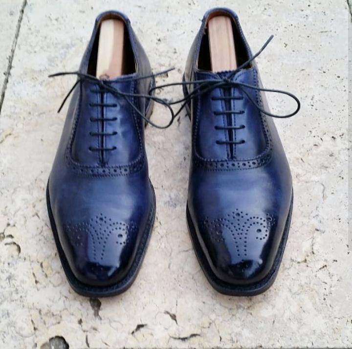 84992d30cbc2e Handmade Men's Brogue Shoes, Men's Navy Blue Leather Lace Up Shoes ...
