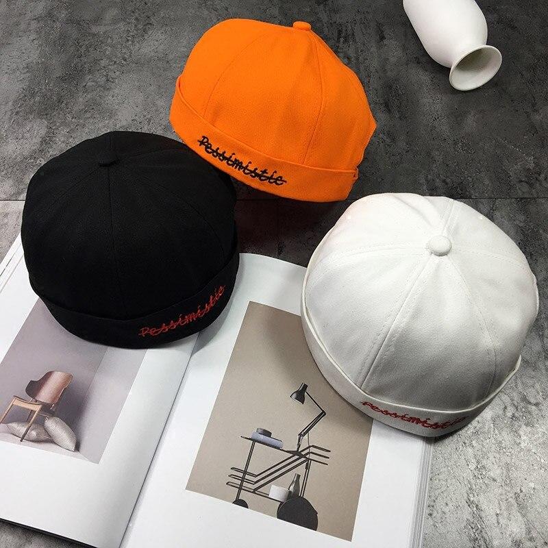 89318072c Sailor Skullcap Cuff Cap Men Cotton Short Brimless Hat Beanie Retro Color  Solid Strap Women