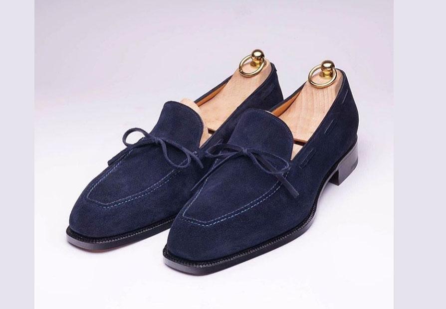 f44cd8bb51663 Handmade Men Navy Blue Suede Dress Formal Moccasins Slip On Shoes on ...