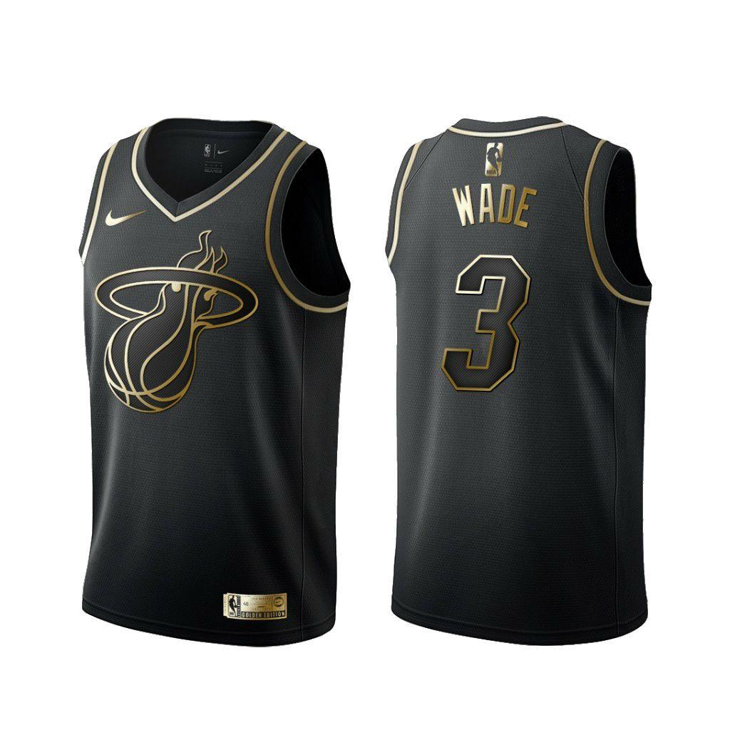buy online 86cbf 6a7b4 Men's Miami Heat #3 Dwyane Wade Basketball Jersey Black Golden Edition