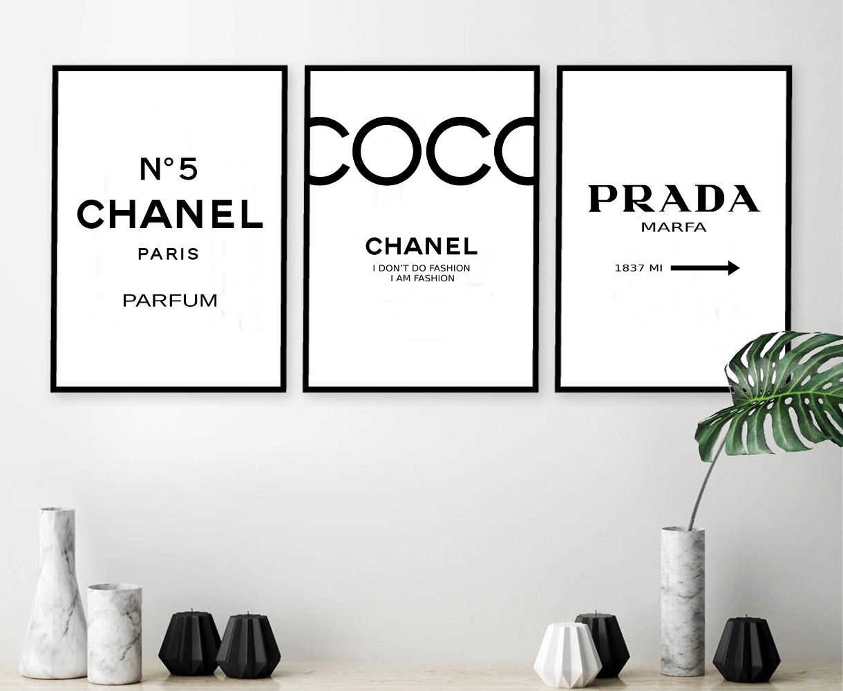 91e0ab310c83a Set of 3 Inspired Coco Chanel Art Print Poster, Chanel Prints, Prada  Prints, Prada Marfa Poster, Chanel Set, Chanel Decor, Chanel Print Set. 142