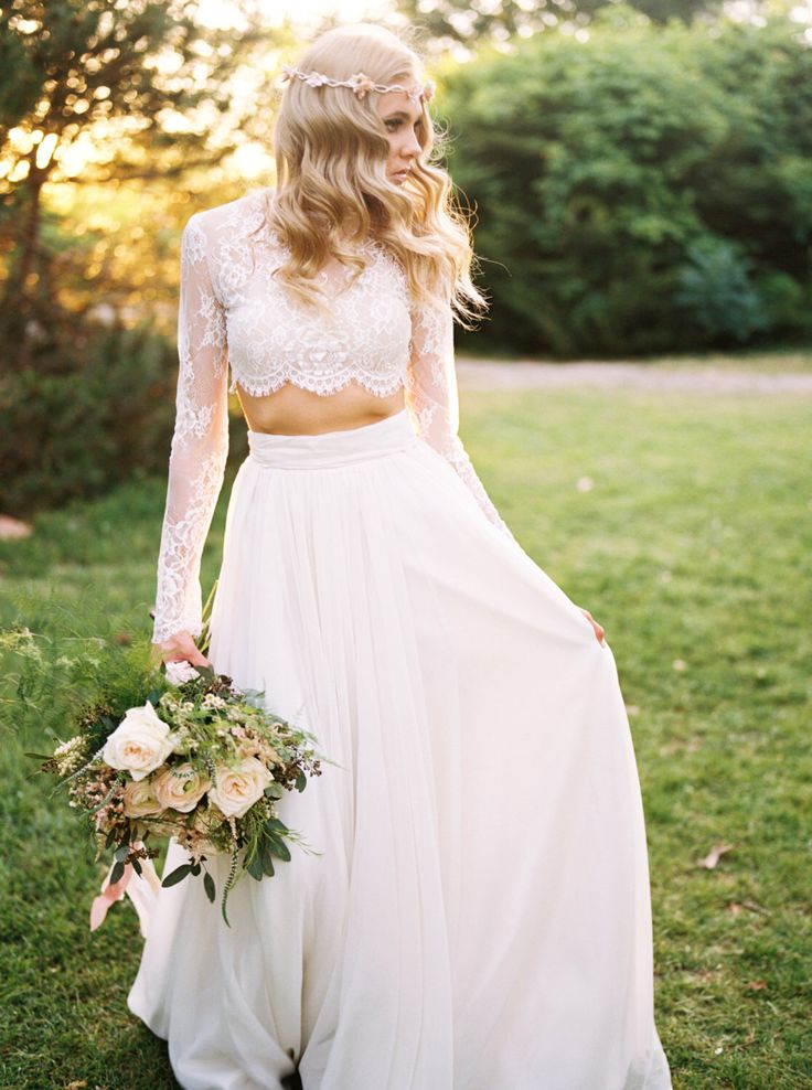 Lace Two 2 Pieces Boho Wedding Dress Long Sleeves Summer Beach Bridal Dress 2019 Long Country Style Wedding Gowns Bridesdayprom Online Store Powered By Storenvy,Casual Wedding Dresses For Older Women