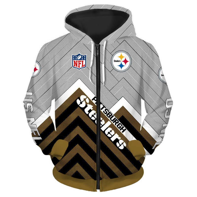 new arrival f2c16 4ab41 Pittsburgh Steelers NFL Full Zip Up Hoodie Zipper Sweatshirt Limited Edition