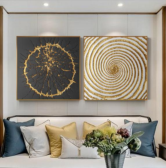 Luxury Black White Gold Abstract Decor Wall Art Retro Canvas Collection No.  LBG-0G302 from Belladonna Home Decor
