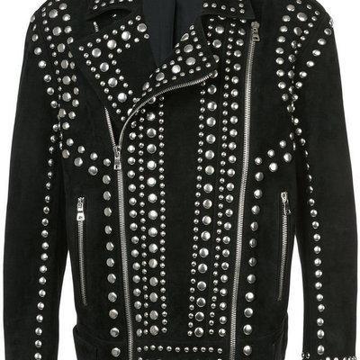 fc9f314057 New men's handmade studded suede fashionable leather jacket. men black  jacket