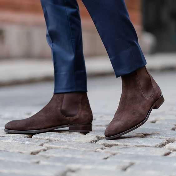 Handmade Men Brown Suede Chelsea Boots, Mens Suede Ankle Boots, Mens Boots from Rangoli Collection