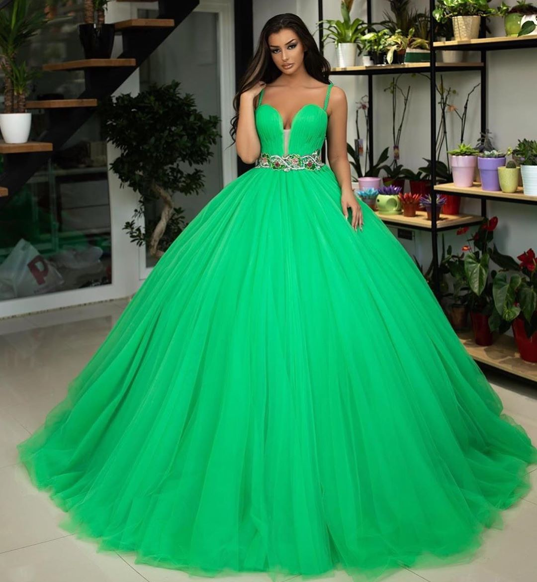 Green Ball Gown Quinceanera Dresses Sweetheart Spaghetti Straps Floor  Length Plus Size Formal Evening Dresses Long Party Gowns from loveu