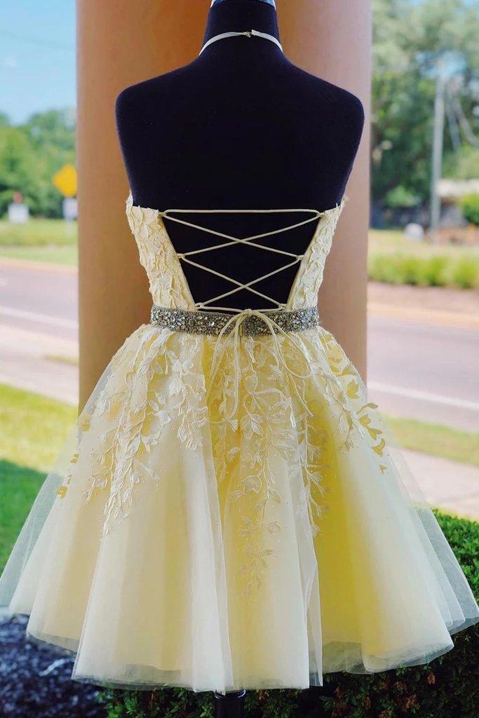 yellow homecoming dresses