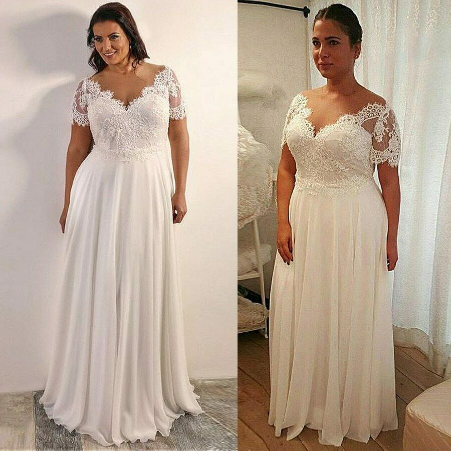 Flash Sale! Plus Size Beach Boho Wedding Dress Chiffon A-line With Beaded  Lace Appliques from Curvy Brides