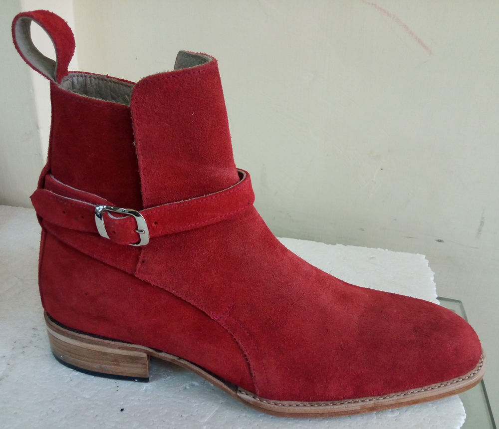 Handmade Chelsea Men's Red Suede Boots