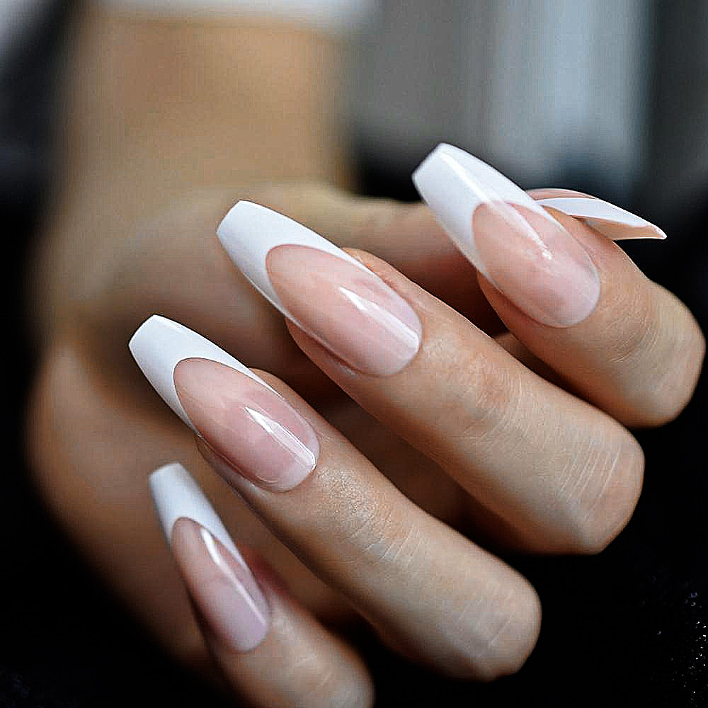 White French Tip Press On Nails Long Coffin Nails Acrylic Nails