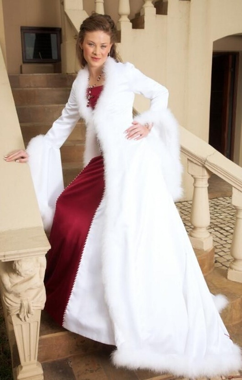 Beautiful Bridal Cape Wedding Cloaks Hooded with Faux Fur Trim ...