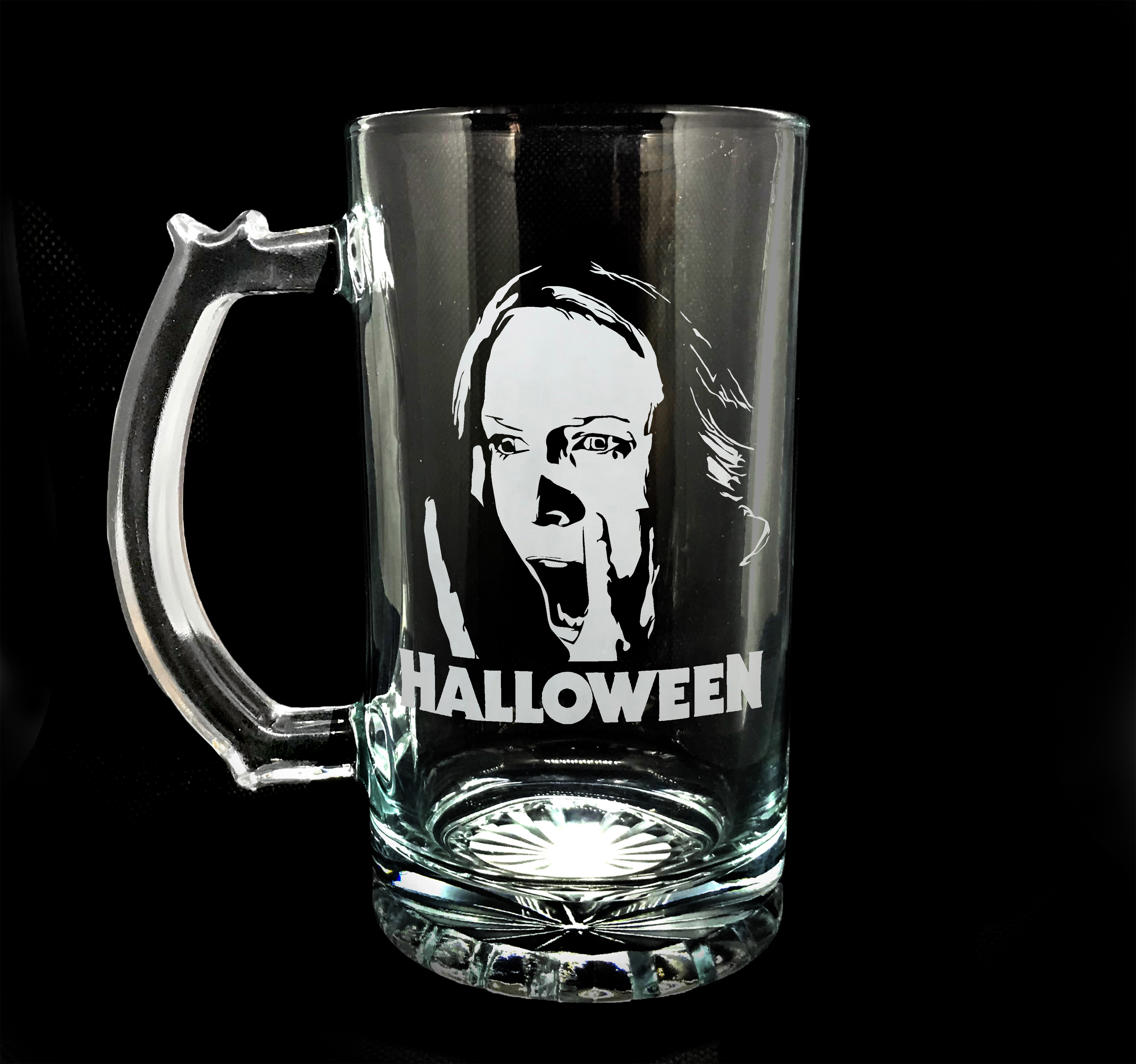 16 Oz Halloween Micheal Myers Glass Beer Mug Stein Cup Cerveza Copa Horror Sold By Chivo Grafica On Storenvy
