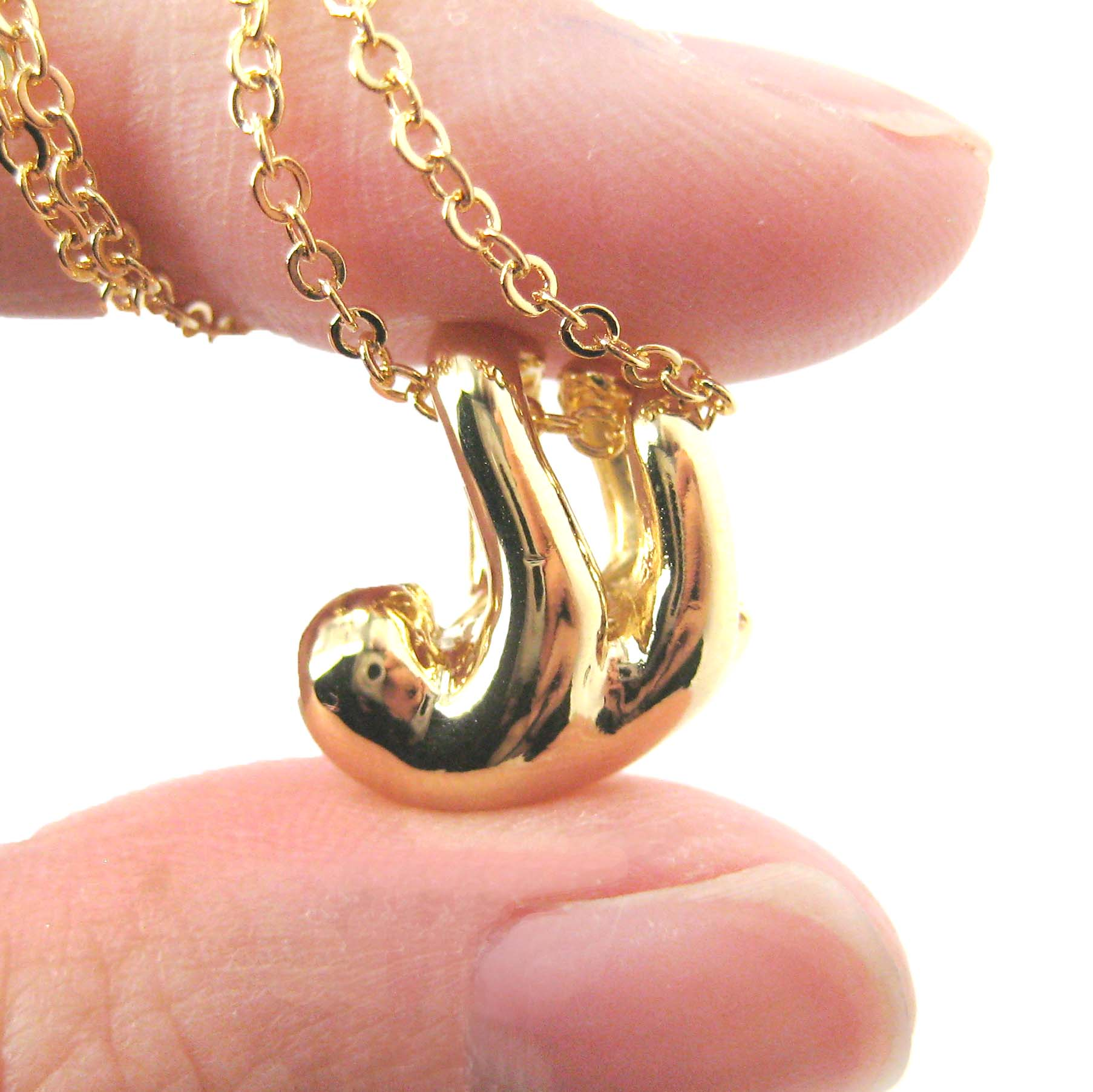 Sloth Shaped Sleek Animal Pendant Necklace In Shiny Gold