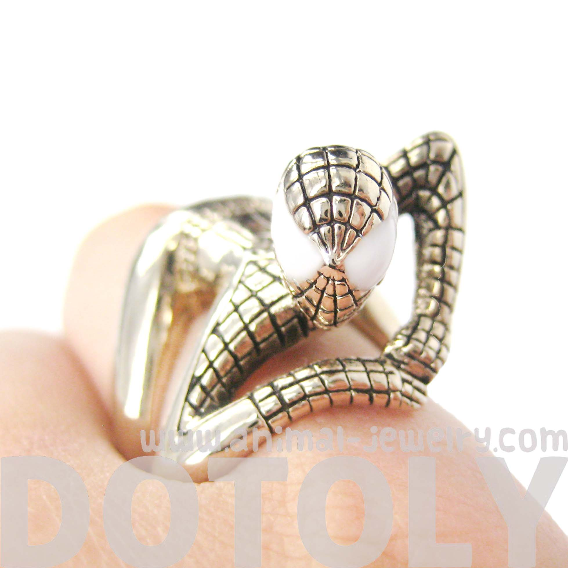 Spiderman Shaped Wrap Around Ring In Shiny Gold Us Size 8 And 9 Available