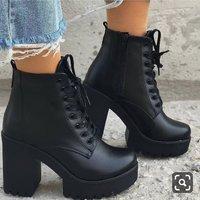 Winter Black New Martin Boots Women Plus Velvet Boots Thick Heel High Heel Women's Shoes Short Boots Hot F6752 - Thumbnail 1
