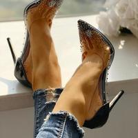 2020 Hot Rhinestone Embellished Transparent Thin Heels G6852 - Thumbnail 1