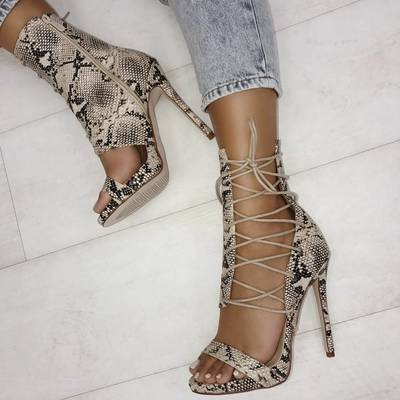 Unique snakeskin peep high heels new s6752