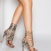 Unique Snakeskin Peep High Heels New S6752 - Thumbnail 3