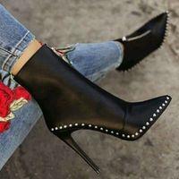 Black Elegant Womens Boots Ankle Short Super High Solid Vintage Boots F6852 - Thumbnail 1