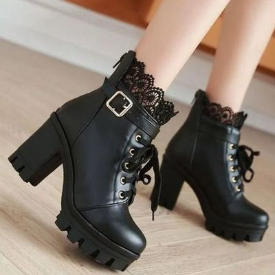 Ankle boots shoes super heeled chunky heel lace up martin boots f6852