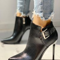 Single Boot Pointed Toe Stiletto Martin Boots High Heel Ankle Boots Sexy Plus Velvet Boots H6752 - Thumbnail 2