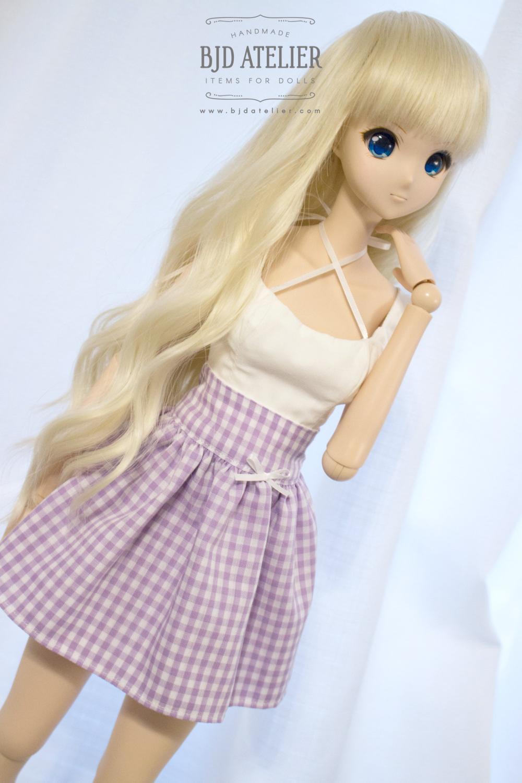 1//3 BJD Clothes Smart Doll Dollfie Dream DD DDdy Pink Plaid Skirt
