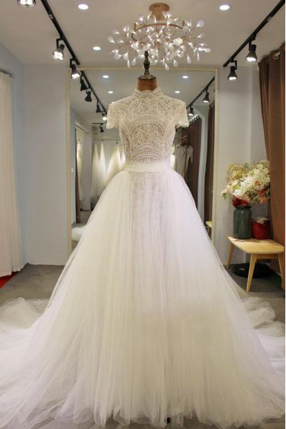 Vndm629 Modest Short Sleeve Ball Gown Wedding Dress From Darius Cordell Sold By Darius Cordell On Storenvy