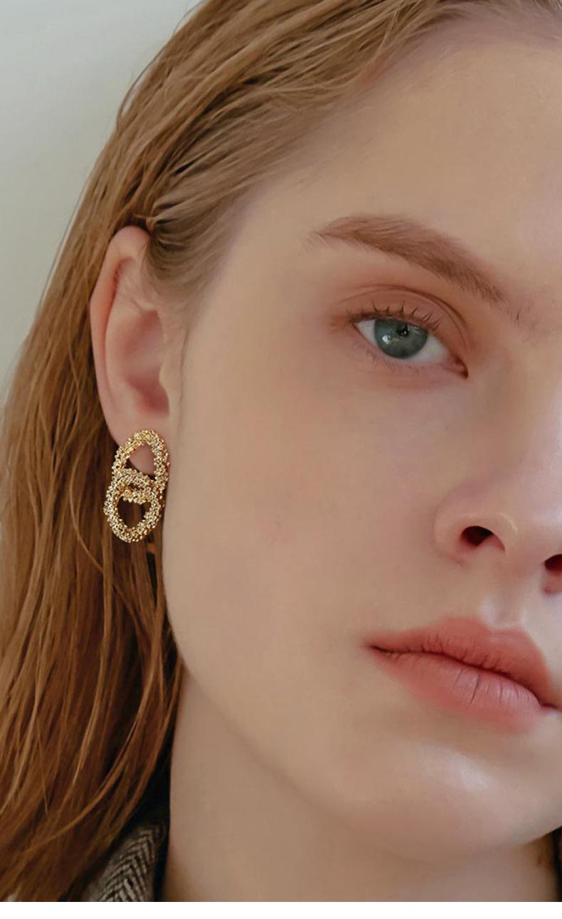 Uzl Design Double Hoop Earrings In Gold Plated Boopdocom