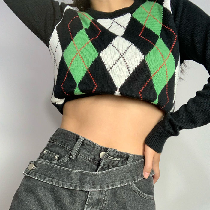 Retro V-neck sweater loose and lazy college double diamond sweater