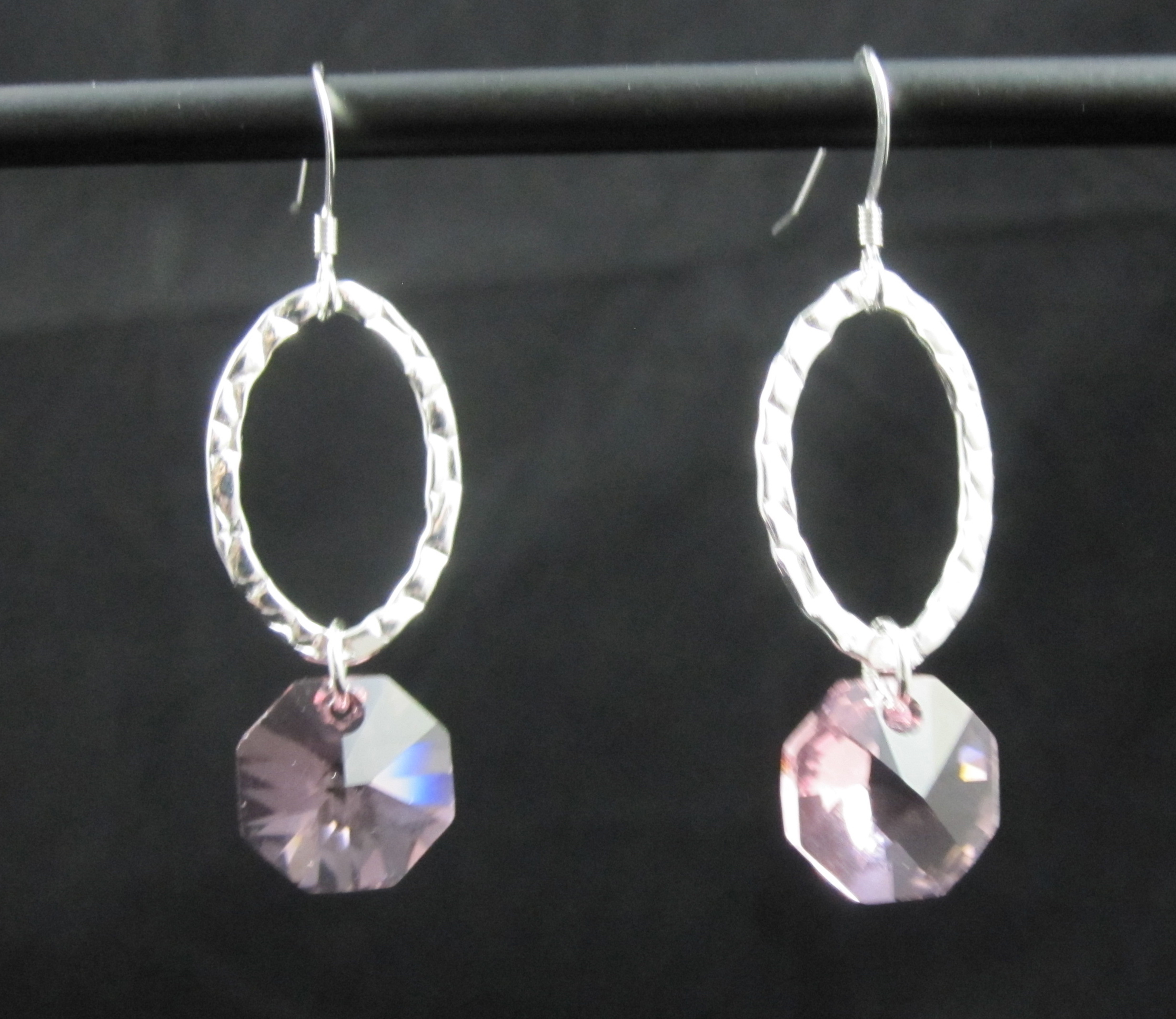 960fcd9ffa329 E110SS-C - Sterling Silver oval & Swarovski Crystal Earrings - 2 color  choices from Cassamore Jewellery