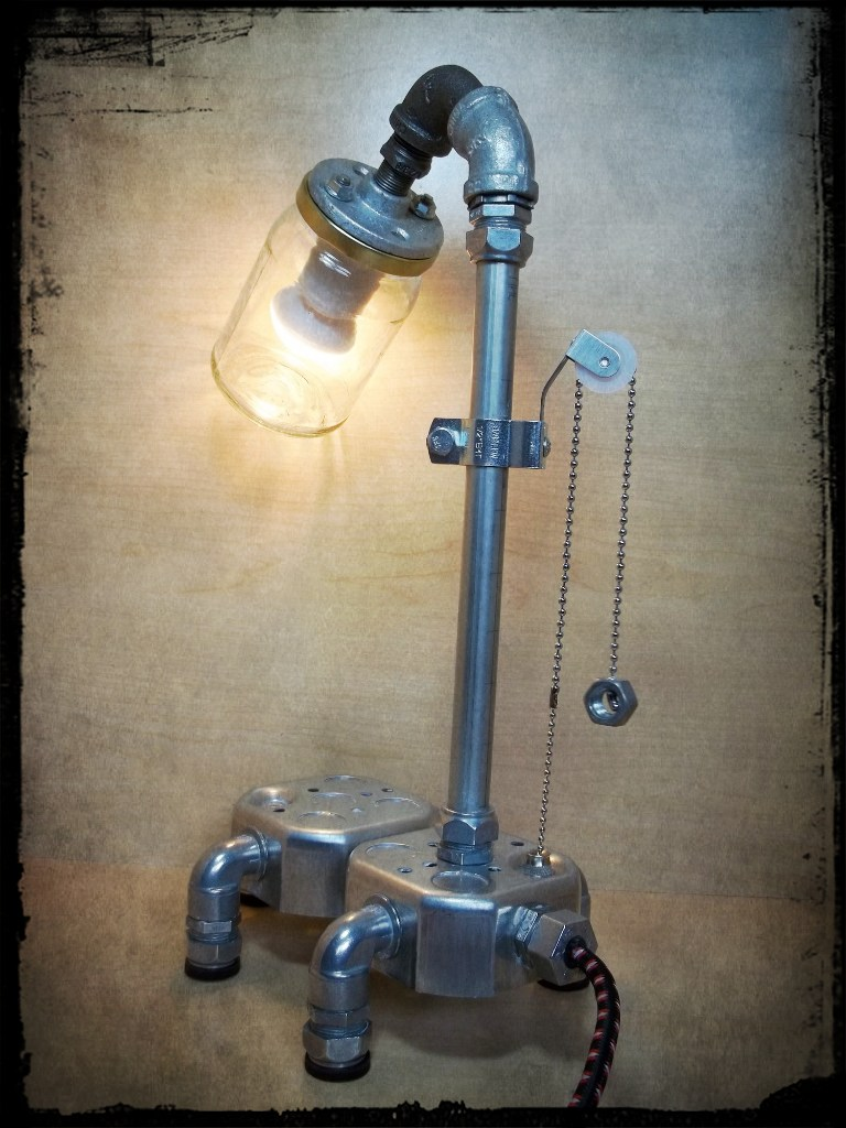 Repurposed Minimalist Electrical Conduit And Glass Jar Lamp Recycled Industrial Grunge Upcycled