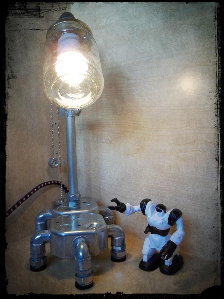 Repurposed Minimalist Electrical Conduit And Glass Jar