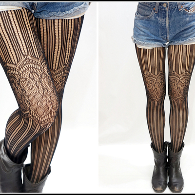 12c9285c797 Striped lace thigh fishnet pantyhose  stockings  tights