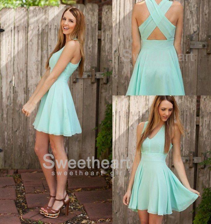 9b0f73132f2 Charming Chiffon V-neck Short Prom Dress