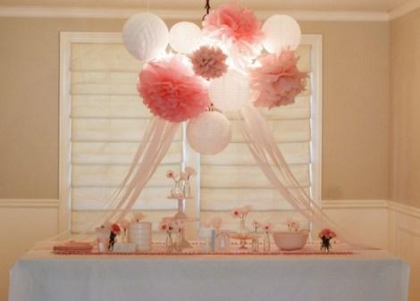 Paper Lanterns And Pom Poms Birthday Party Nursery