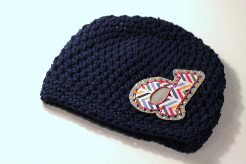bde23abda4e55 Navy Blue Boys Hat, Personalized Baby Hat, Baby Beanie, Initials, Monogram,  Baby Gift, Photo Prop, Cotton Crochet Hat